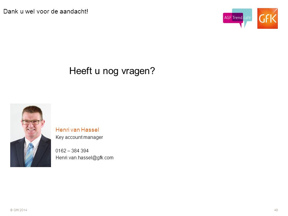 © GfK 201449 0162 – 384 394 Key account manager Henri van Hassel Henri.van.hassel@gfk.com Dank u wel voor de aandacht! Heeft u nog vragen?