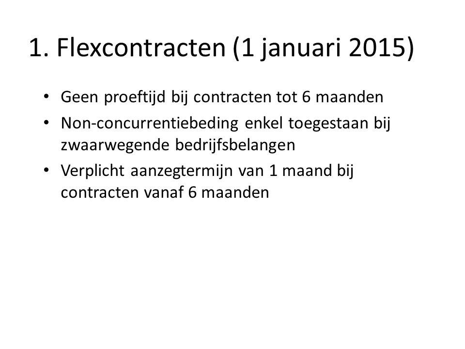 1. Flexcontracten (1 januari 2015) Geen proeftijd bij contracten tot 6 maanden Non-concurrentiebeding enkel toegestaan bij zwaarwegende bedrijfsbelang
