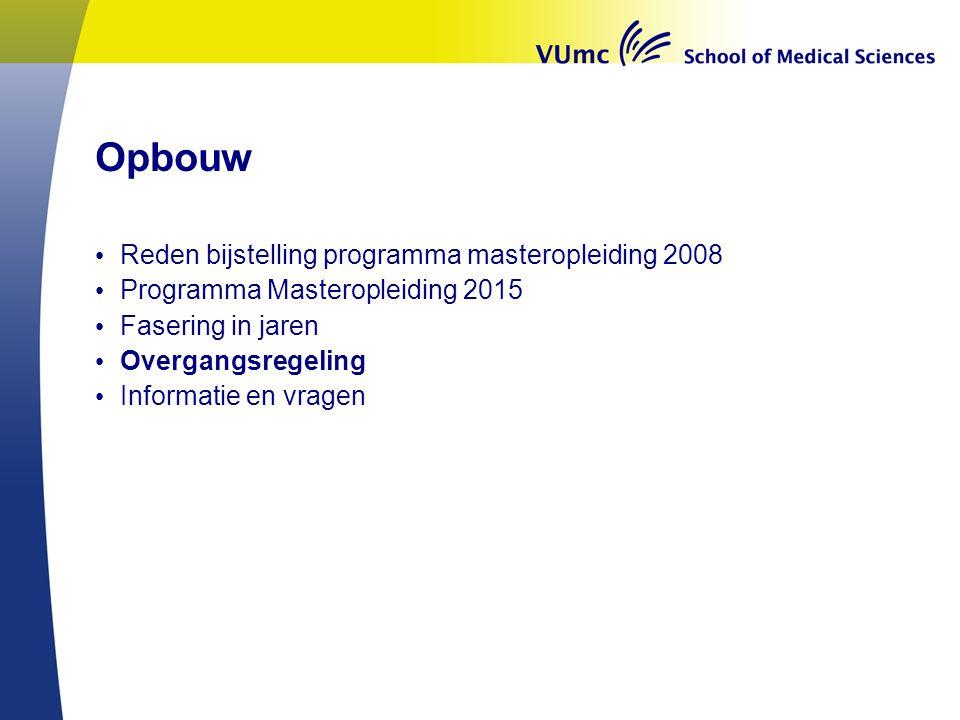 Opbouw Reden bijstelling programma masteropleiding 2008 Programma Masteropleiding 2015 Fasering in jaren Overgangsregeling Informatie en vragen
