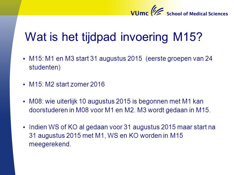 Wat is het tijdpad invoering M15.