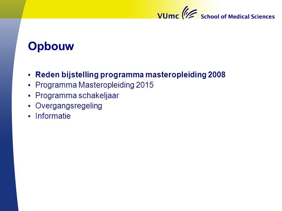 Opbouw Reden bijstelling programma masteropleiding 2008 Programma Masteropleiding 2015 Programma schakeljaar Overgangsregeling Informatie