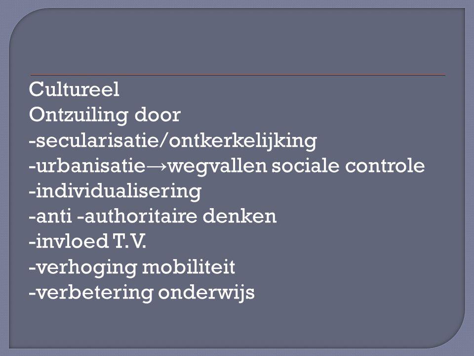 Cultureel Ontzuiling door -secularisatie/ontkerkelijking -urbanisatie → wegvallen sociale controle -individualisering -anti -authoritaire denken -invloed T.V.