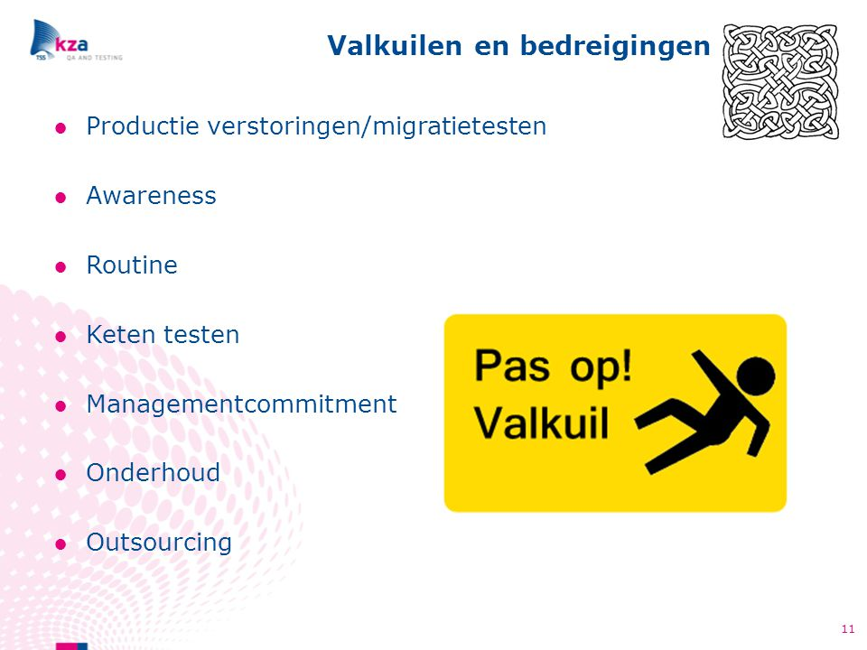 ●Productie verstoringen/migratietesten ●Awareness ●Routine ●Keten testen ●Managementcommitment ●Onderhoud ●Outsourcing Valkuilen en bedreigingen 11