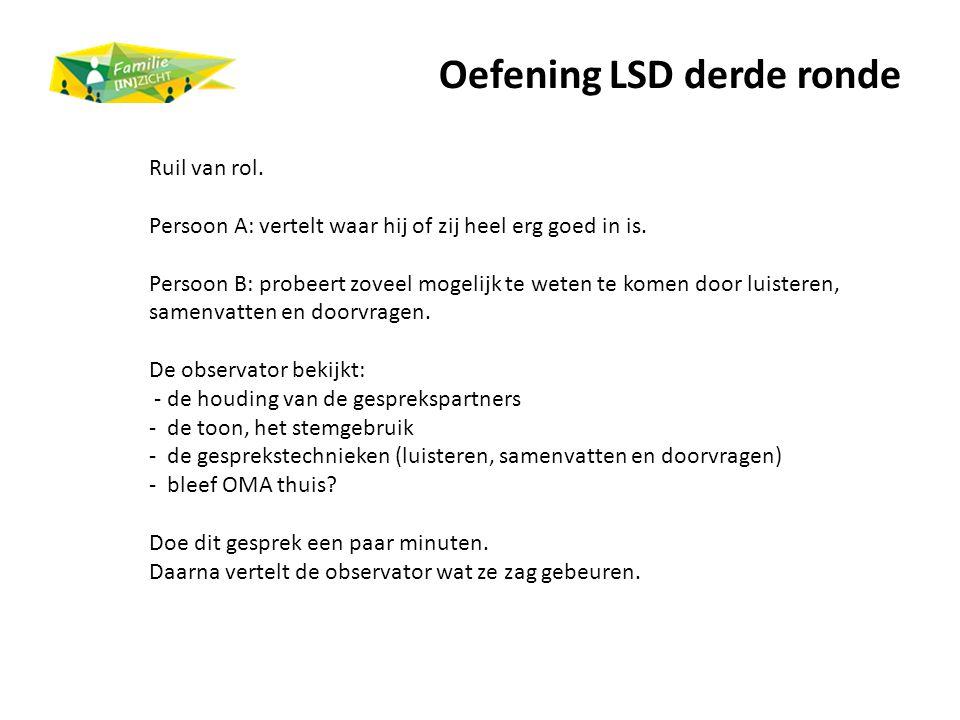Oefening LSD derde ronde Ruil van rol. Persoon A: vertelt waar hij of zij heel erg goed in is. Persoon B: probeert zoveel mogelijk te weten te komen d