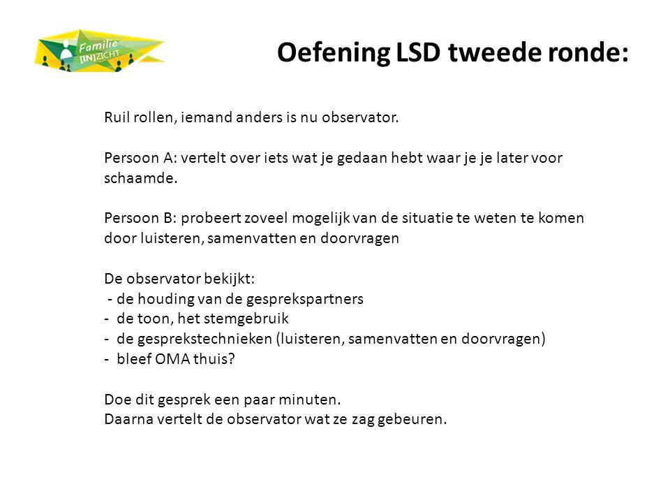 Oefening LSD tweede ronde: Ruil rollen, iemand anders is nu observator. Persoon A: vertelt over iets wat je gedaan hebt waar je je later voor schaamde
