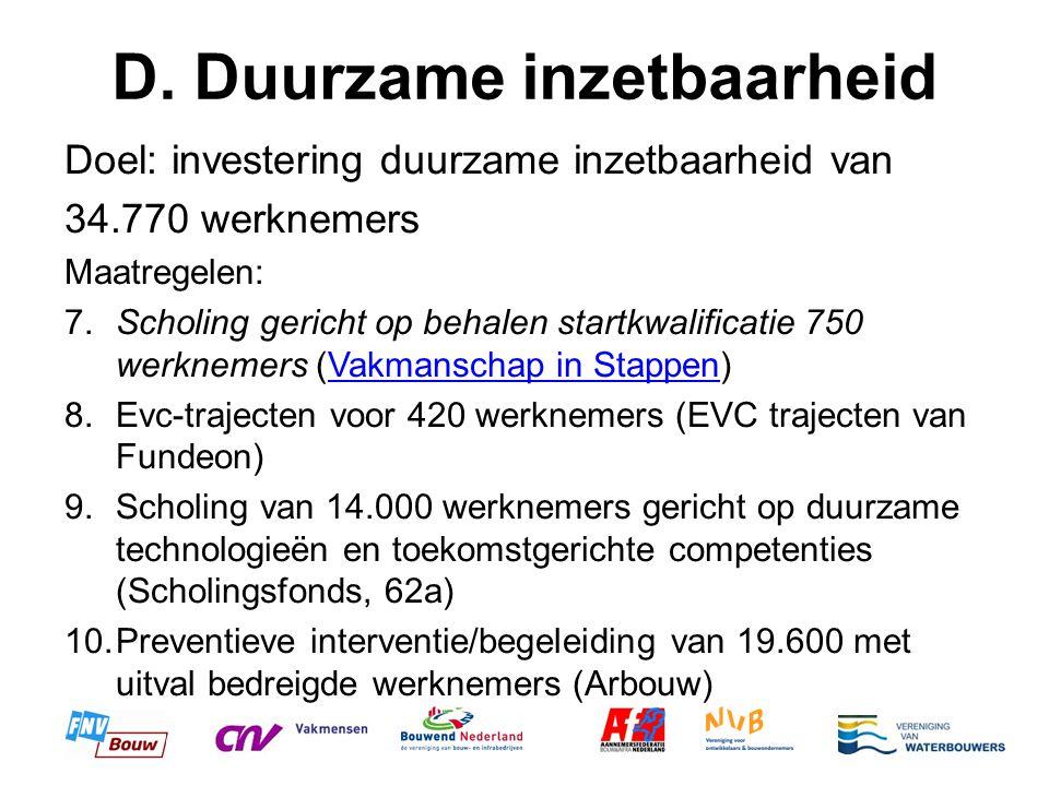 D. Duurzame inzetbaarheid Doel: investering duurzame inzetbaarheid van 34.770 werknemers Maatregelen: 7.Scholing gericht op behalen startkwalificatie