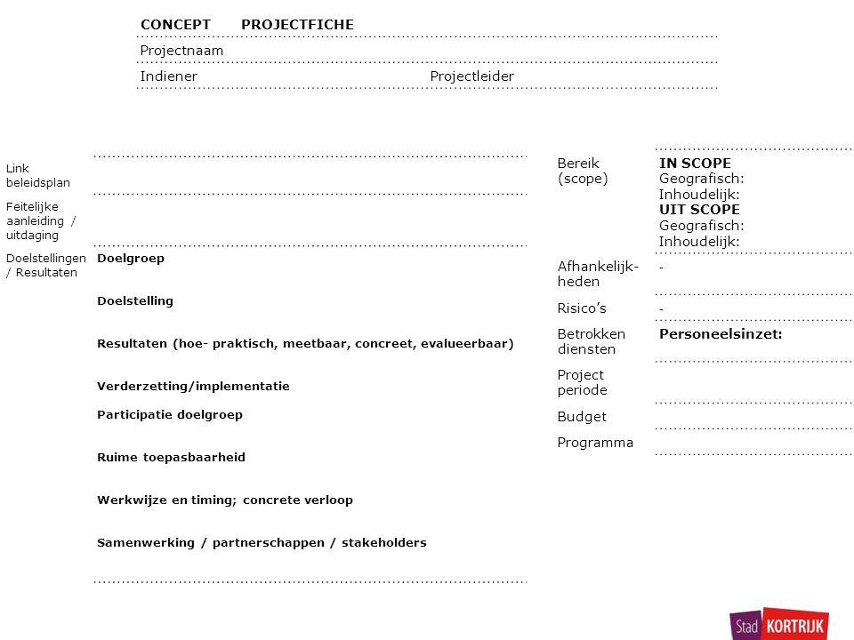 CONCEPTPROJECTFICHE Projectnaam Indiener Projectleider Link beleidsplan Feitelijke aanleiding / uitdaging Doelstellingen / Resultaten Doelgroep Doelstelling Resultaten (hoe- praktisch, meetbaar, concreet, evalueerbaar) Verderzetting/implementatie Participatie doelgroep Ruime toepasbaarheid Werkwijze en timing; concrete verloop Samenwerking / partnerschappen / stakeholders Bereik (scope) IN SCOPE Geografisch: Inhoudelijk: UIT SCOPE Geografisch: Inhoudelijk: Afhankelijk- heden - Risico's - Betrokken diensten Personeelsinzet: Project periode Budget Programma