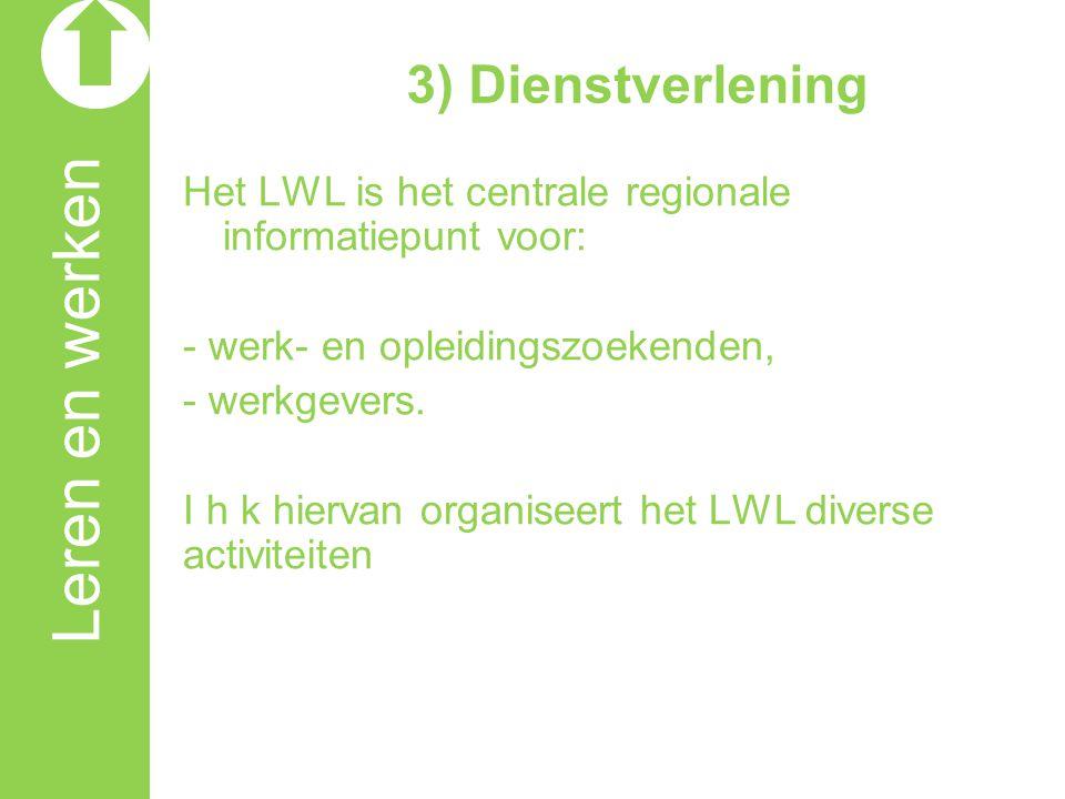3) Dienstverlening Het LWL is het centrale regionale informatiepunt voor: - werk- en opleidingszoekenden, - werkgevers. I h k hiervan organiseert het
