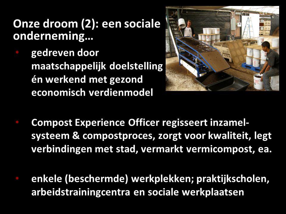 Onze droom (2): een sociale onderneming… gedreven door maatschappelijk doelstelling én werkend met gezond economisch verdienmodel Compost Experience O