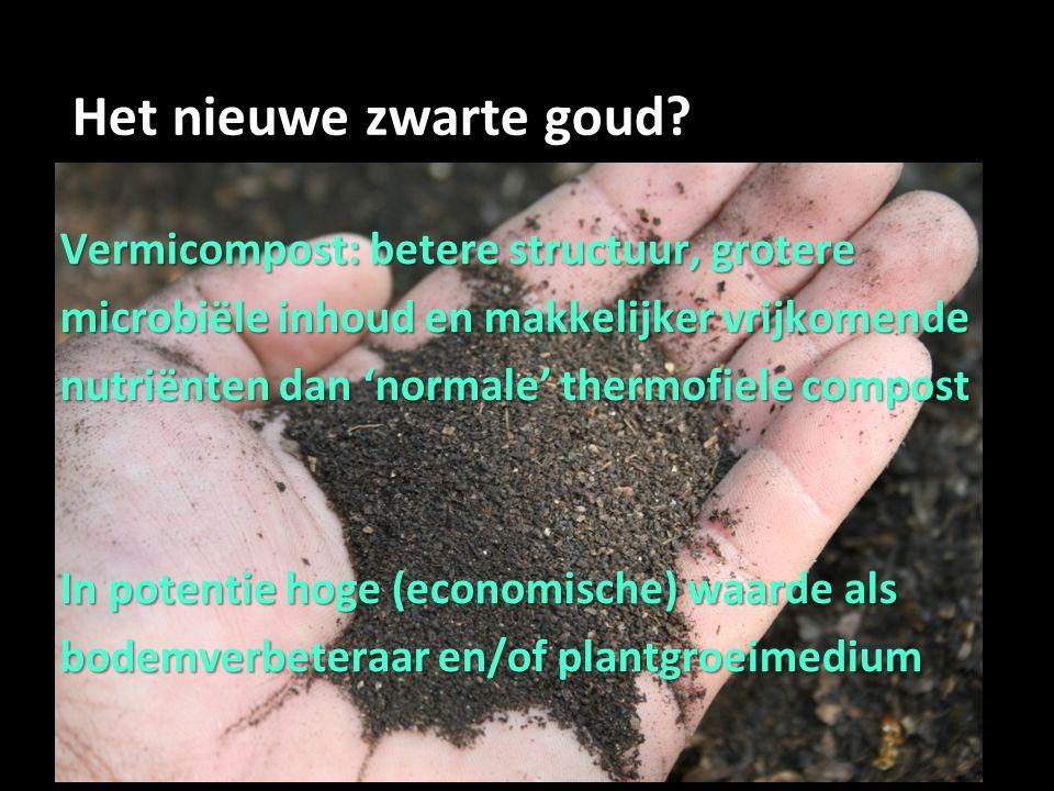 Het nieuwe zwarte goud? Vermicompost: betere structuur, grotere microbiële inhoud en makkelijker vrijkomende nutriënten dan 'normale' thermofiele comp