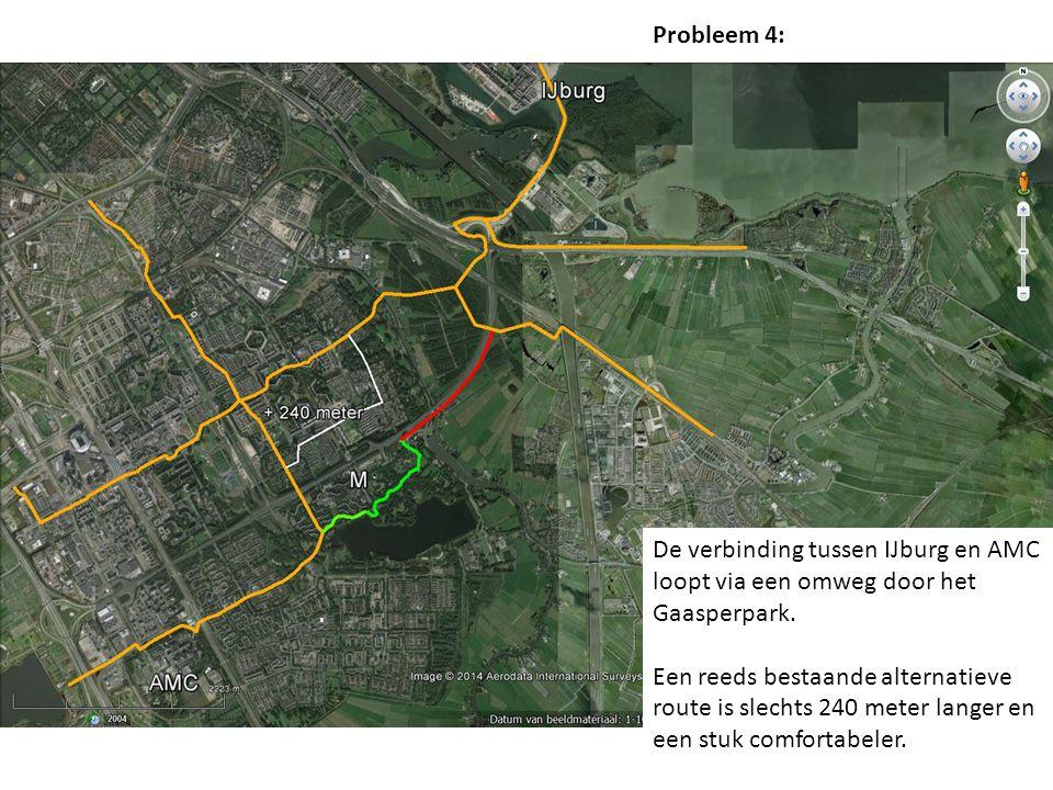 De verbinding tussen IJburg en AMC loopt via een omweg door het Gaasperpark.