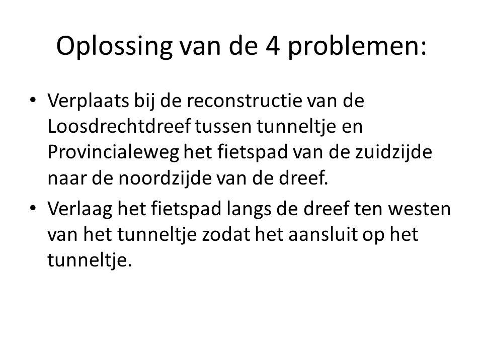 Oplossing van de 4 problemen: Verplaats bij de reconstructie van de Loosdrechtdreef tussen tunneltje en Provincialeweg het fietspad van de zuidzijde naar de noordzijde van de dreef.