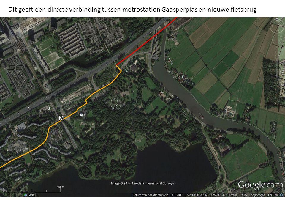 Dit geeft een directe verbinding tussen metrostation Gaasperplas en nieuwe fietsbrug