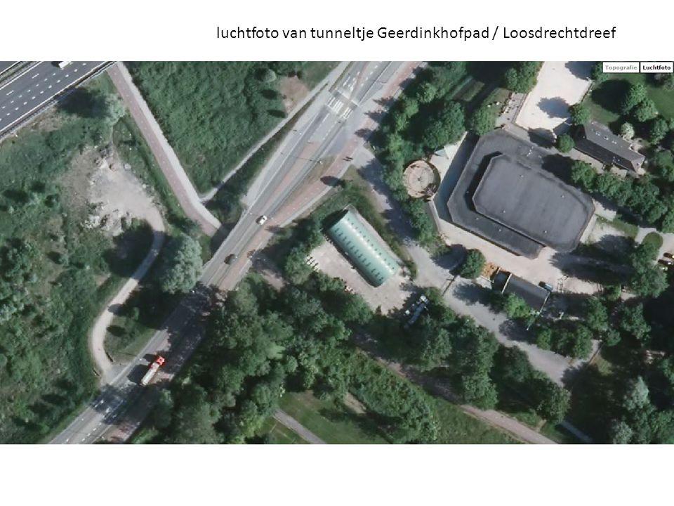 luchtfoto van tunneltje Geerdinkhofpad / Loosdrechtdreef
