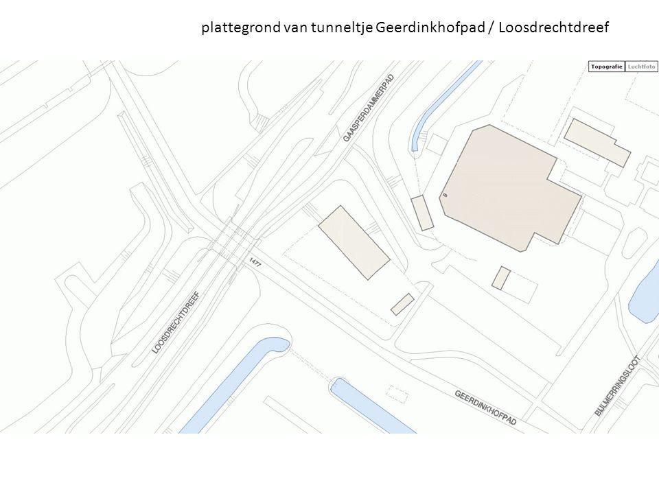 plattegrond van tunneltje Geerdinkhofpad / Loosdrechtdreef