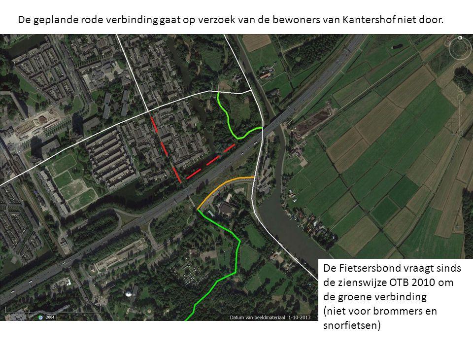 De geplande rode verbinding gaat op verzoek van de bewoners van Kantershof niet door.