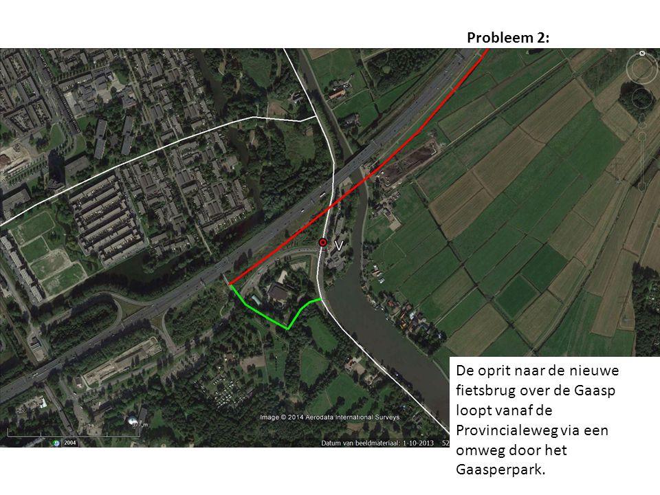De oprit naar de nieuwe fietsbrug over de Gaasp loopt vanaf de Provincialeweg via een omweg door het Gaasperpark.