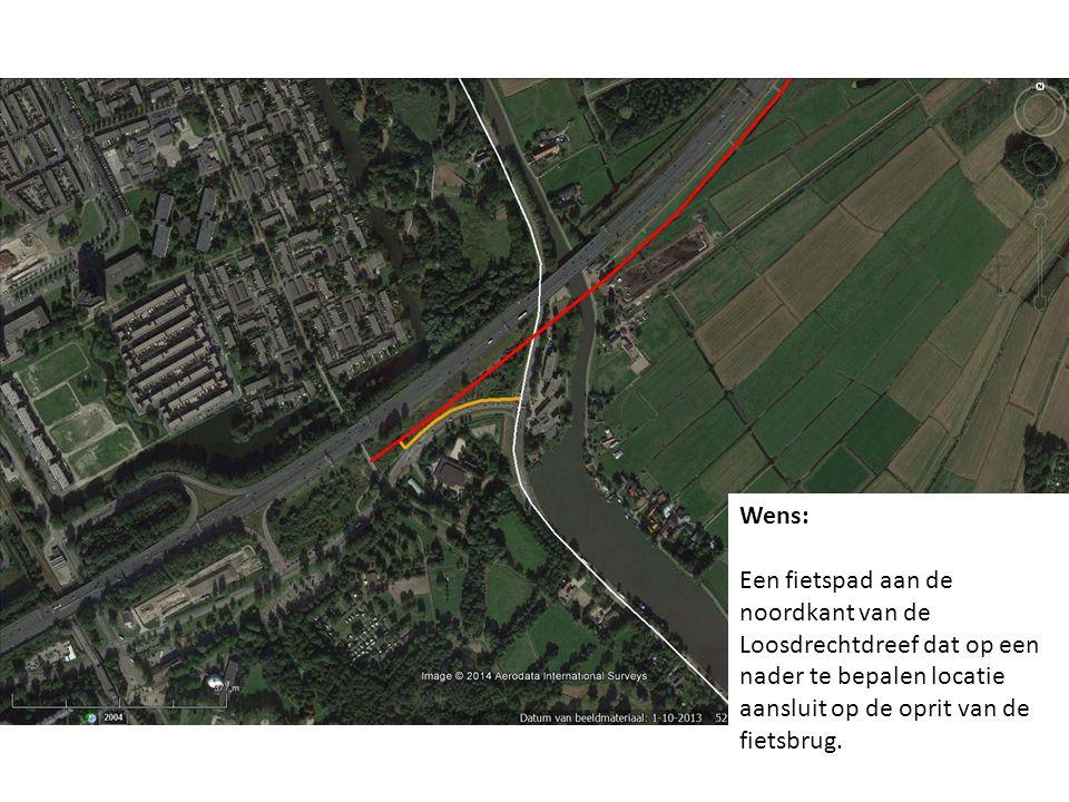 Wens: Een fietspad aan de noordkant van de Loosdrechtdreef dat op een nader te bepalen locatie aansluit op de oprit van de fietsbrug.