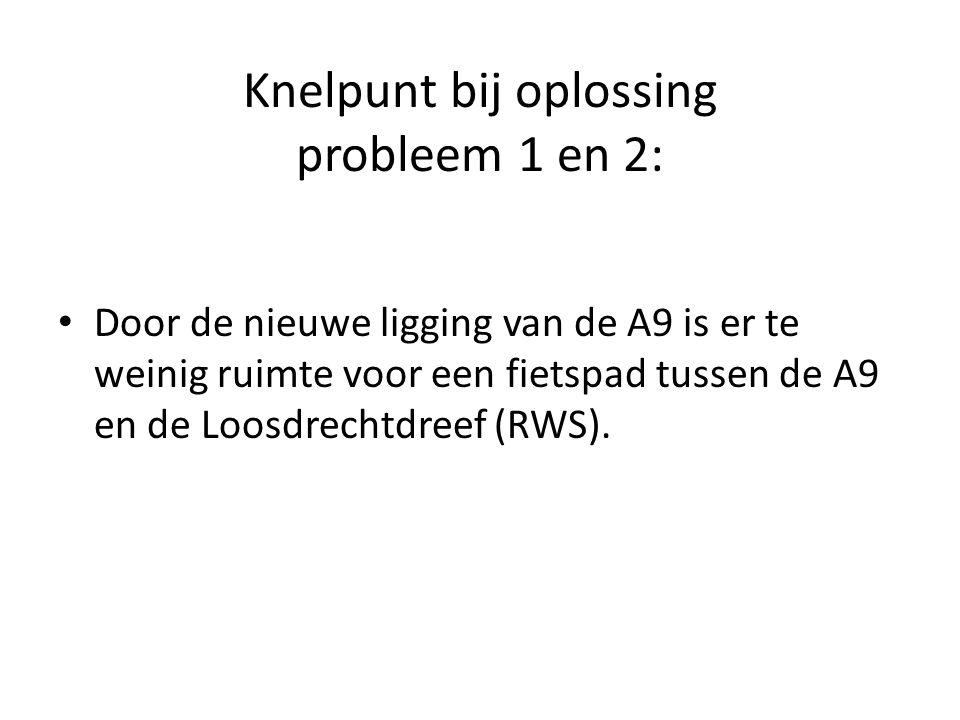Knelpunt bij oplossing probleem 1 en 2: Door de nieuwe ligging van de A9 is er te weinig ruimte voor een fietspad tussen de A9 en de Loosdrechtdreef (RWS).
