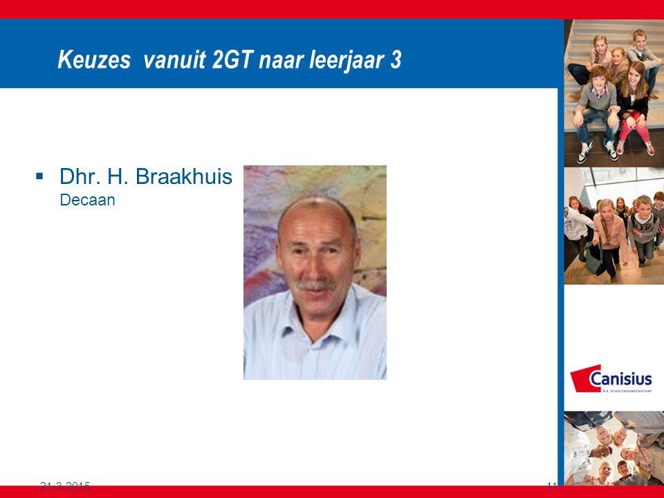 21-3-201511 Keuzes vanuit 2GT naar leerjaar 3  Dhr. H. Braakhuis Decaan
