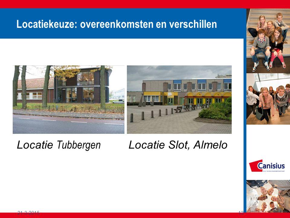 21-3-201513 Locatiekeuze: overeenkomsten en verschillen Locatie Tubbergen Locatie Slot, Almelo