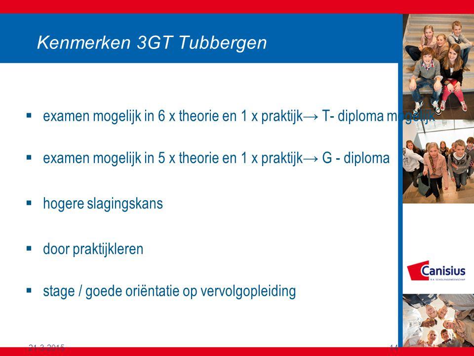 21-3-201514 Kenmerken 3GT Tubbergen  examen mogelijk in 6 x theorie en 1 x praktijk→ T- diploma mogelijk  examen mogelijk in 5 x theorie en 1 x prak