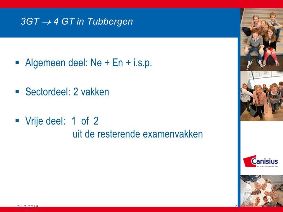 21-3-201518 3GT  4 GT in Tubbergen  Algemeen deel: Ne + En + i.s.p.  Sectordeel: 2 vakken  Vrije deel:1 of 2 uit de resterende examenvakken