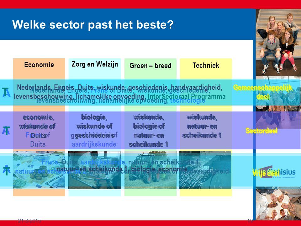 21-3-201519 Zorg en Welzijn Economie Groen – breed Techniek Welke sector past het beste? Gemeenschappelijk deel Nederlands, Engels, Frans of Duits, wi