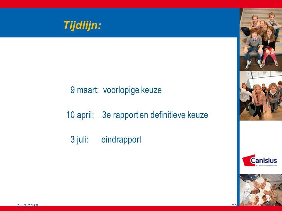 21-3-201523 Tijdlijn: 9 maart: voorlopige keuze 10 april: 3e rapport en definitieve keuze 3 juli: eindrapport