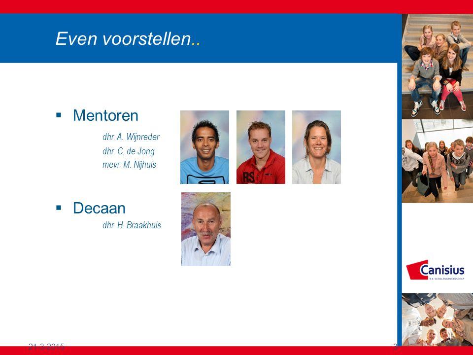 21-3-20153 Even voorstellen.. Mentoren dhr. A. Wijnreder dhr.