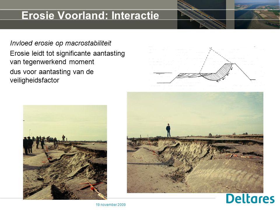 19 november 2009 Erosie Voorland: Interactie Invloed erosie op macrostabiliteit Erosie leidt tot significante aantasting van tegenwerkend moment dus v