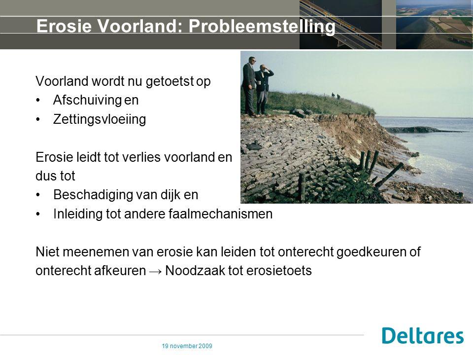 19 november 2009 Erosie Voorland: Probleemstelling Voorland wordt nu getoetst op Afschuiving en Zettingsvloeiing Erosie leidt tot verlies voorland en