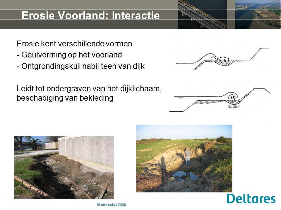 19 november 2009 Erosie Voorland: Rekenregels Lokale ontgrondingen nabij teen van dijken/bijzonder waterkerende constructies Verticale erosie door golven