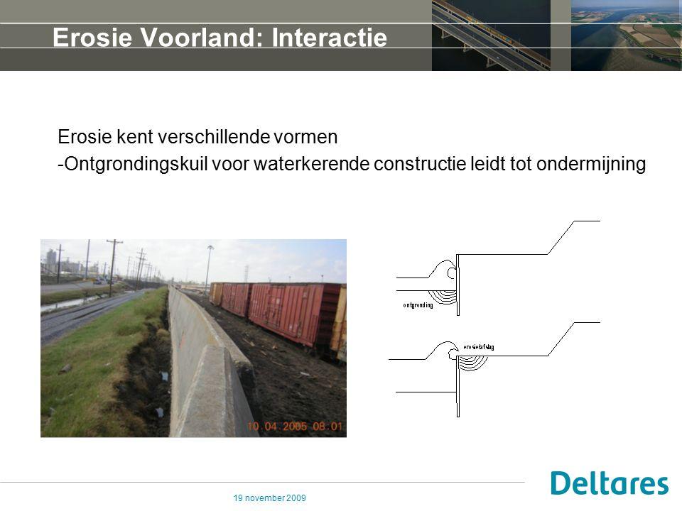 19 november 2009 Erosie Voorland: Interactie Invloed erosie op macrostabiliteit Erosie leidt tot significante aantasting van tegenwerkend moment dus voor aantasting van de veiligheidsfactor