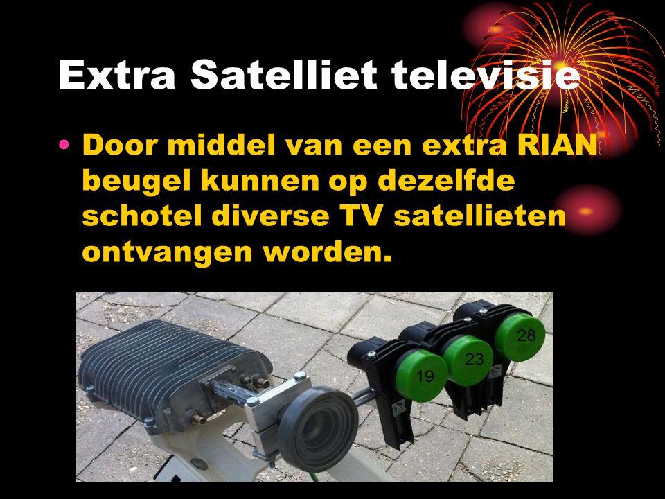 Extra Satelliet televisie Door middel van een extra RIAN beugel kunnen op dezelfde schotel diverse TV satellieten ontvangen worden.