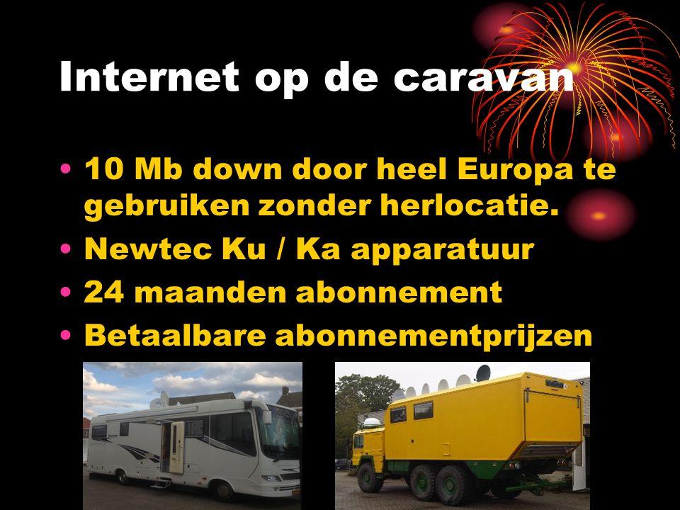Internet op de caravan 10 Mb down door heel Europa te gebruiken zonder herlocatie. Newtec Ku / Ka apparatuur 24 maanden abonnement Betaalbare abonneme