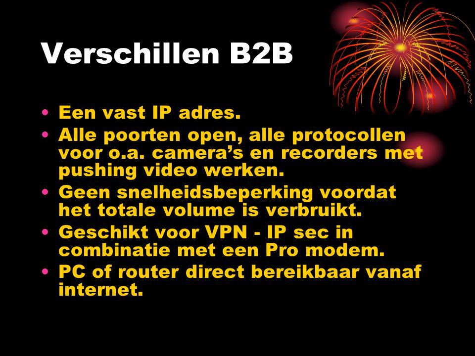 Verschillen B2B Een vast IP adres. Alle poorten open, alle protocollen voor o.a. camera's en recorders met pushing video werken. Geen snelheidsbeperki
