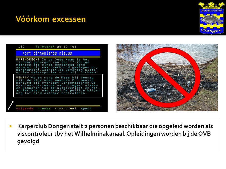 Vóórkom excessen  Karperclub Dongen stelt 2 personen beschikbaar die opgeleid worden als viscontroleur tbv het Wilhelminakanaal.
