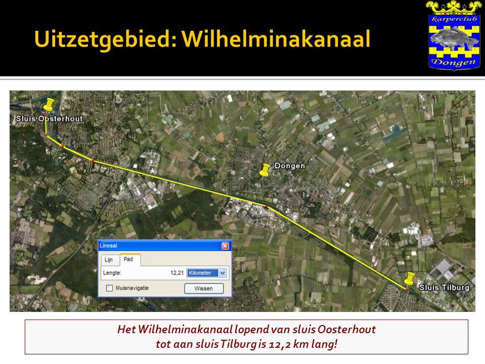 Uitzetgebied: Wilhelminakanaal Het Wilhelminakanaal lopend van sluis Oosterhout tot aan sluis Tilburg is 12,2 km lang!