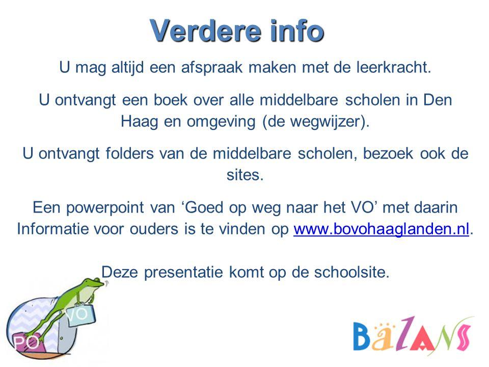 Verdere info U mag altijd een afspraak maken met de leerkracht. U ontvangt een boek over alle middelbare scholen in Den Haag en omgeving (de wegwijzer