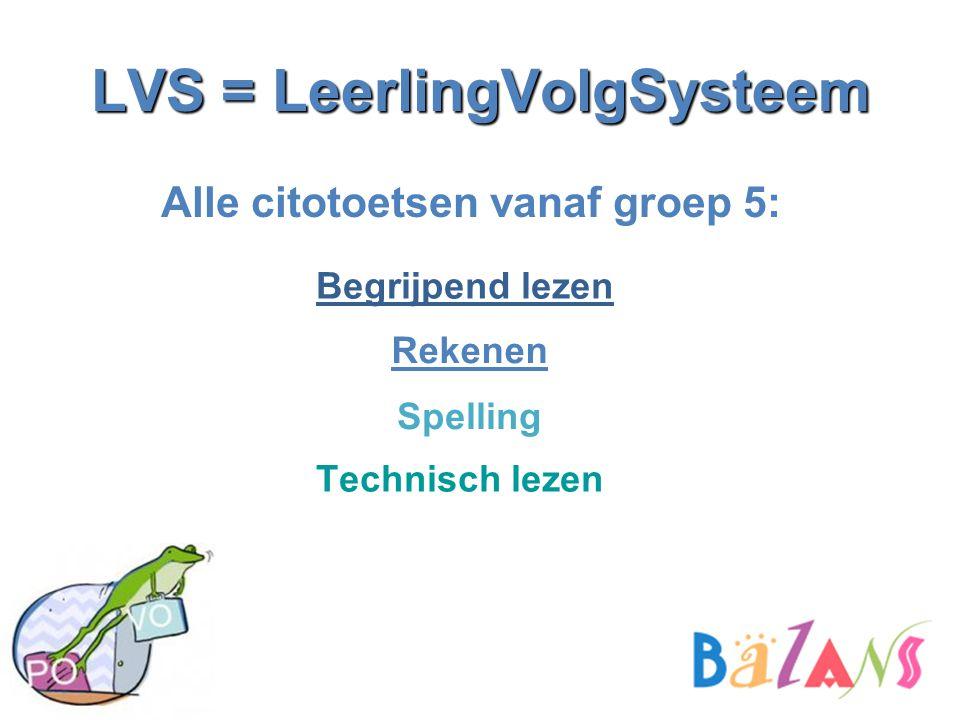 LVS = LeerlingVolgSysteem Alle citotoetsen vanaf groep 5: Begrijpend lezen Spelling Rekenen Technisch lezen