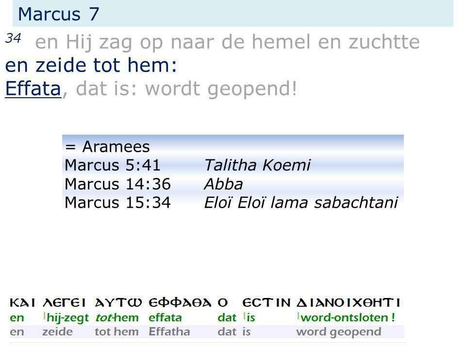 Marcus 7 34 en Hij zag op naar de hemel en zuchtte en zeide tot hem: Effata, dat is: wordt geopend! = Aramees Marcus 5:41Talitha Koemi Marcus 14:36Abb