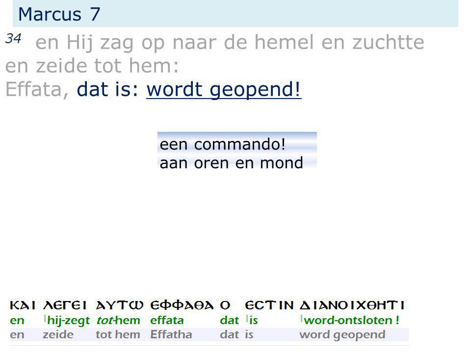 Marcus 7 34 en Hij zag op naar de hemel en zuchtte en zeide tot hem: Effata, dat is: wordt geopend! een commando! aan oren en mond