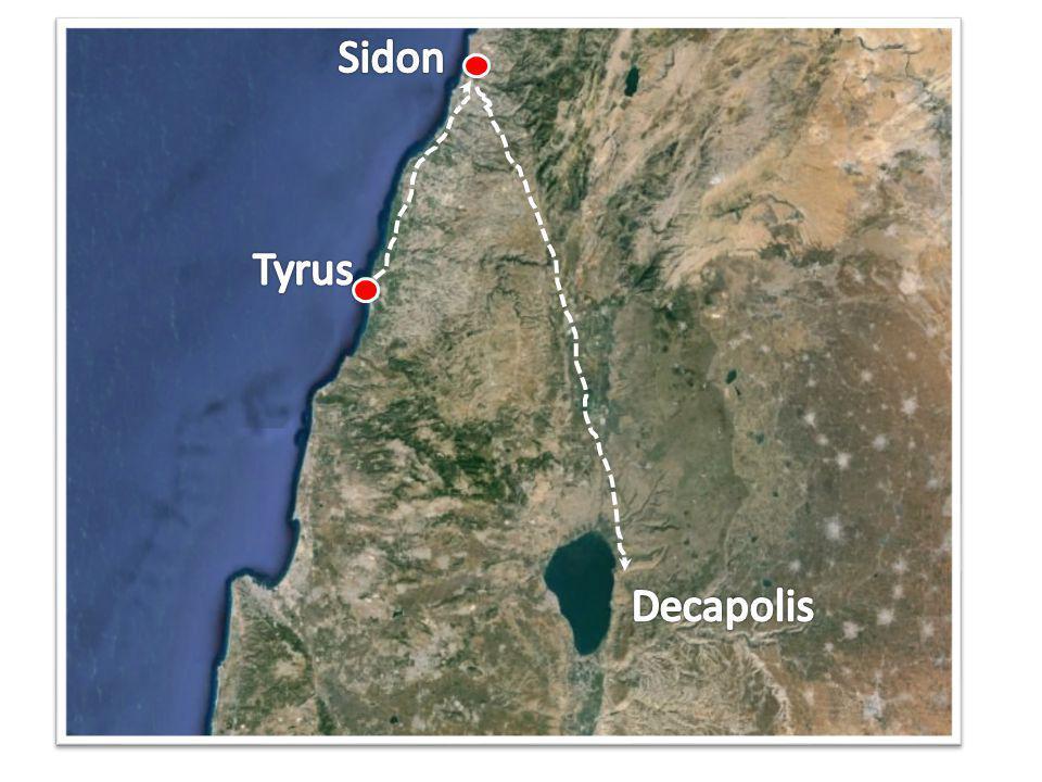 Marcus 7 31 En toen Hij weder uit het gebied van Tyrus vertrokken was, kwam Hij door Sidon naar de zee van Galilea, midden in het gebied van Dekapolis.
