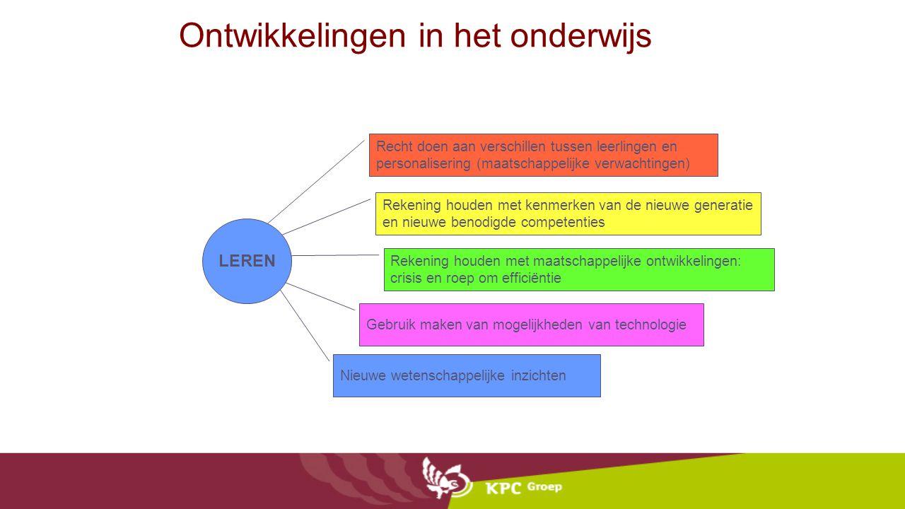 Ontwikkelingen in het onderwijs Recht doen aan verschillen tussen leerlingen en personalisering (maatschappelijke verwachtingen) Rekening houden met k
