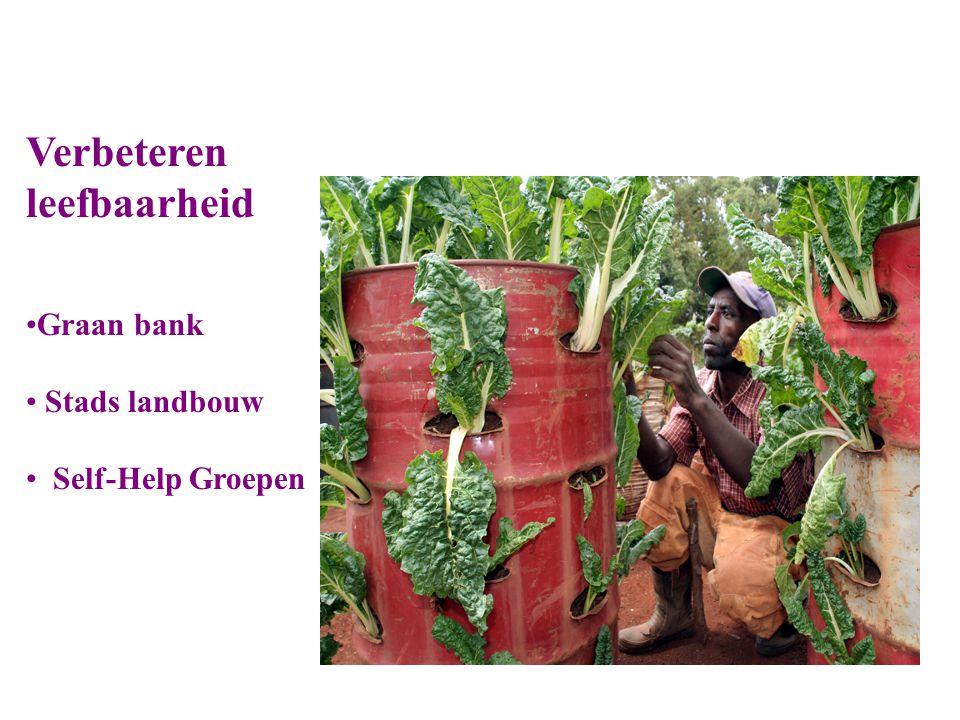 Verbeteren leefbaarheid Graan bank Stads landbouw Self-Help Groepen