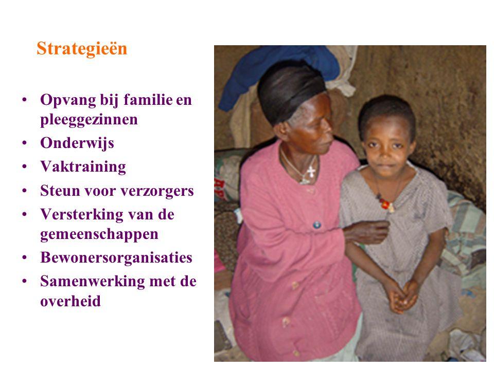Strategieën Opvang bij familie en pleeggezinnen Onderwijs Vaktraining Steun voor verzorgers Versterking van de gemeenschappen Bewonersorganisaties Samenwerking met de overheid