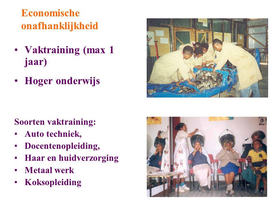 Vaktraining (max 1 jaar) Hoger onderwijs Soorten vaktraining: Auto techniek, Docentenopleiding, Haar en huidverzorging Metaal werk Koksopleiding Economische onafhanklijkheid