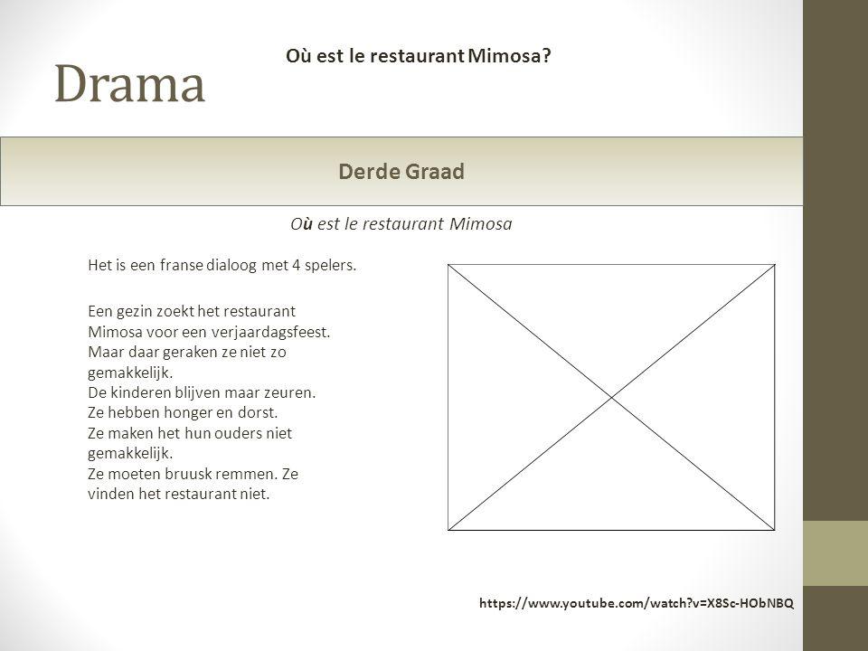 Drama https://www.youtube.com/watch?v=X8Sc-HObNBQ Derde Graad Een gezin zoekt het restaurant Mimosa voor een verjaardagsfeest. Maar daar geraken ze ni