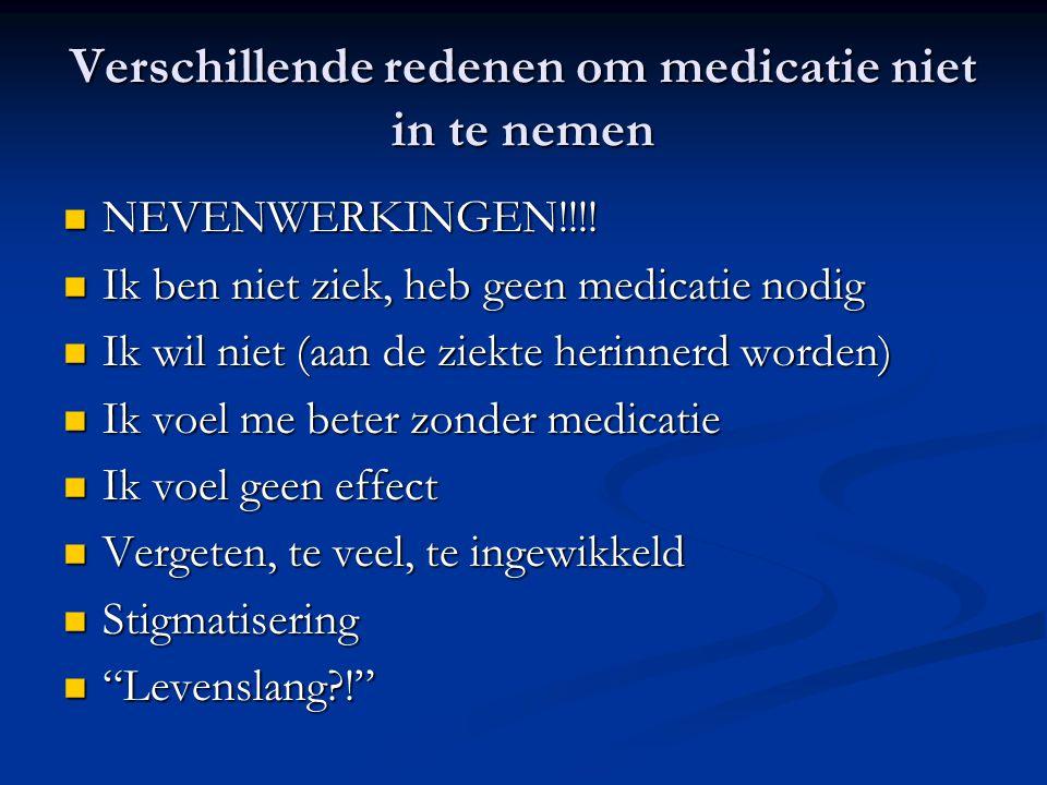 Verschillende redenen om medicatie niet in te nemen NEVENWERKINGEN!!!! NEVENWERKINGEN!!!! Ik ben niet ziek, heb geen medicatie nodig Ik ben niet ziek,